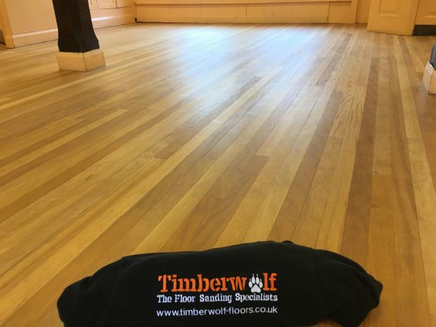 Afrormosia Strip floor Kirbymoorside Town Hall After