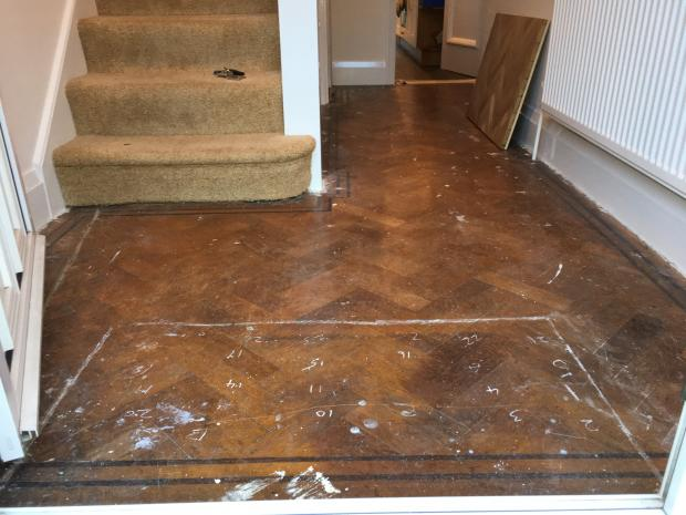 1930's Oak Parquet Battens - Anlaby Before